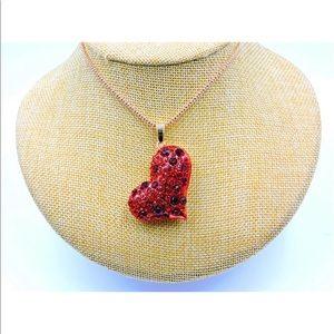 Betsey Johnson Rhinestone Heart Necklace NWT